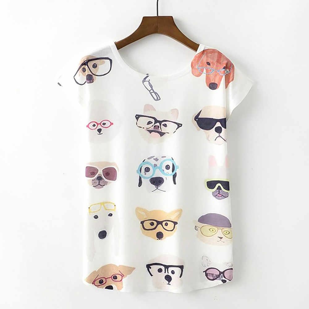 여자 티셔츠 셔츠 강아지 프린트 여름 귀여운 탑 여자 면화 티셔츠 재미 있은 티셔츠 roupas feminina dropshipping