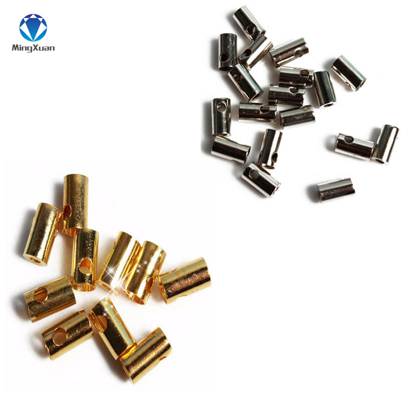 MINGXUAN 500pcs/lot Round Copper/Aluminum Crimp Clasps Cord End Caps Fits 3mm Leather Cord Jewelry Findings Components