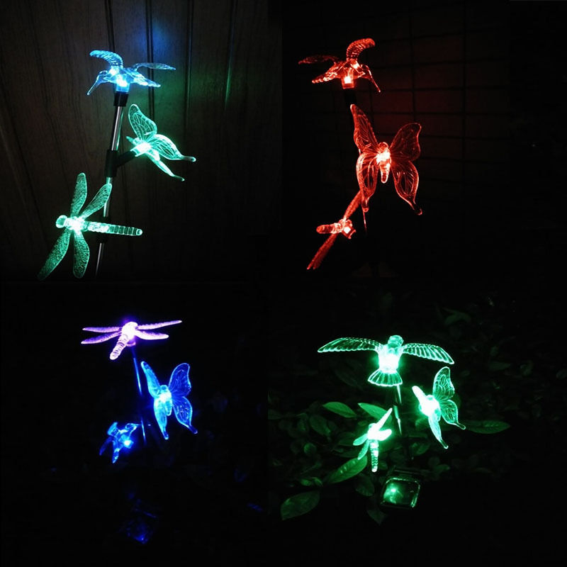 Solar Powered Outdoor Animal Lights Dragonfly Bird Butterfly Decorative Lighting Decorations for Home Garden Park Yard Lawn Xmas