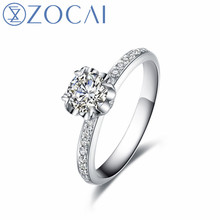 ZOCAI New Design Engagement Rings Real Natural Diamond 0.3CT F-G/SI 18K White gold (Au750) Diamond Gift Ring zocai brand real diamond wedding earrings 18k white gold au750 free ship jbe90254t