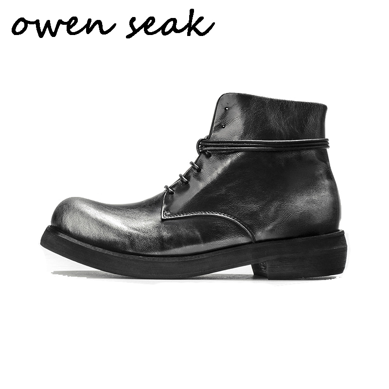 Owen Seak Men Casual Shoes High TOP Ankle Riding Boots Retro Genuine Leather Sneakers Luxury Trainers