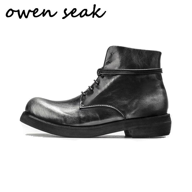 Wen Seak zapatos casuales para hombre Botas de montar al tobillo de alta calidad Retro zapatillas de cuero genuino zapatillas de lujo botas negras planas zapatos    1