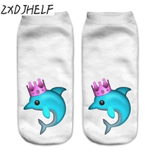 ZXDJHELF New Women Low Cut Ankle Socks Funny Dolphin 3D Print Sock Casual Breathable Cotton Hosiery Unisex Printed Sox S012