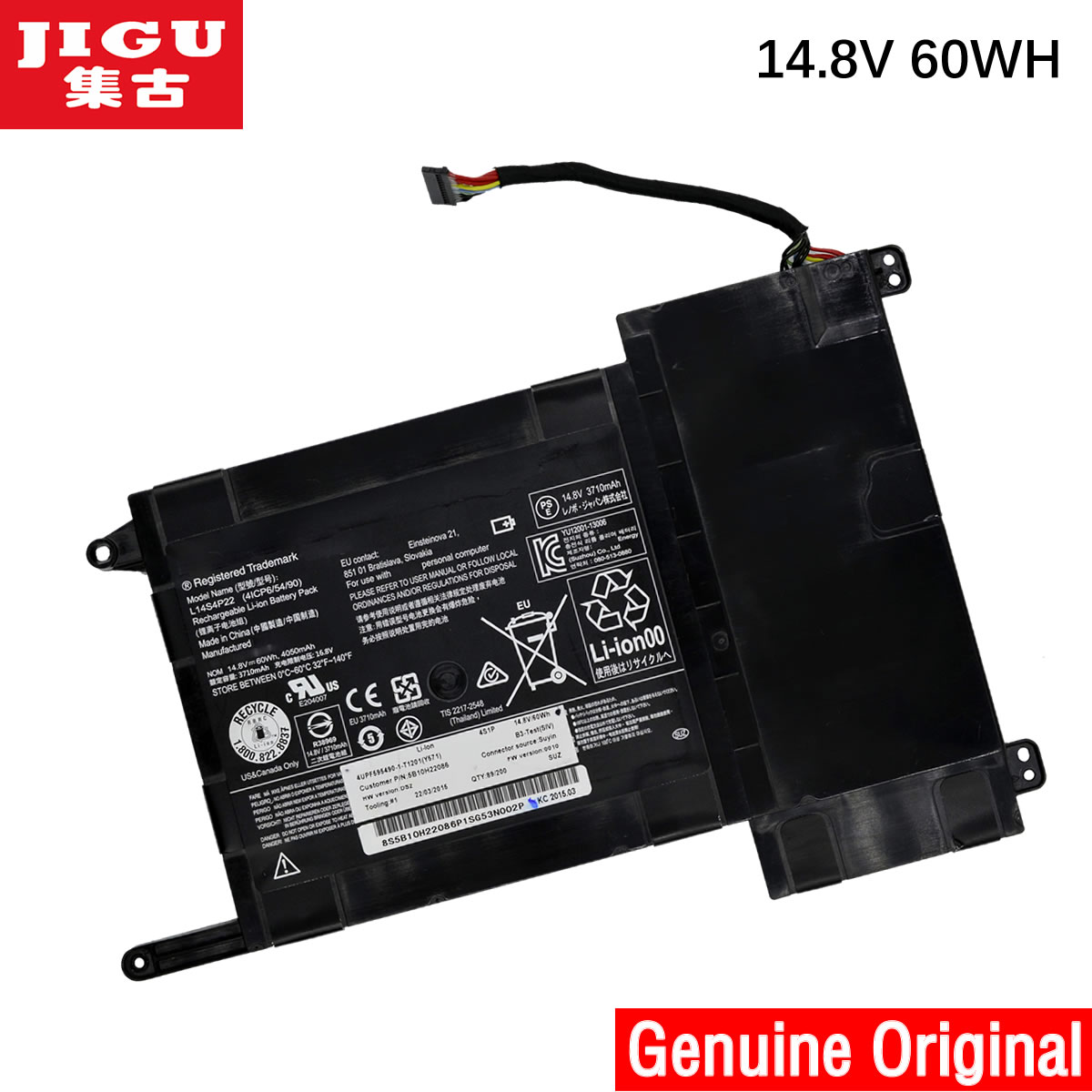 JIGU New original L14M4P23 battery for Lenovo Y700 series Y700-17iSK 5B10H22084 14.8V 60WH jigu original new 66wh 15v c41n1337 battery for asus portable aio pt2001 19 5 inch batteria batteries high quality