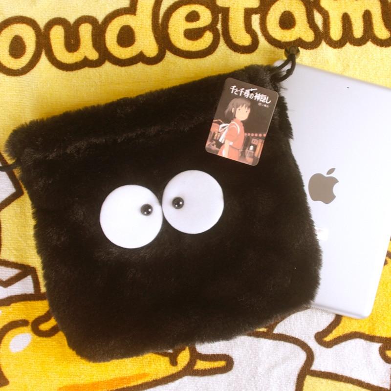 Cool 1PCS Spirited Away Cartoon Drawstring Bags Cute Plush Storage Handbags Makeup Bag Coin Bundle Pocket Purse NEW
