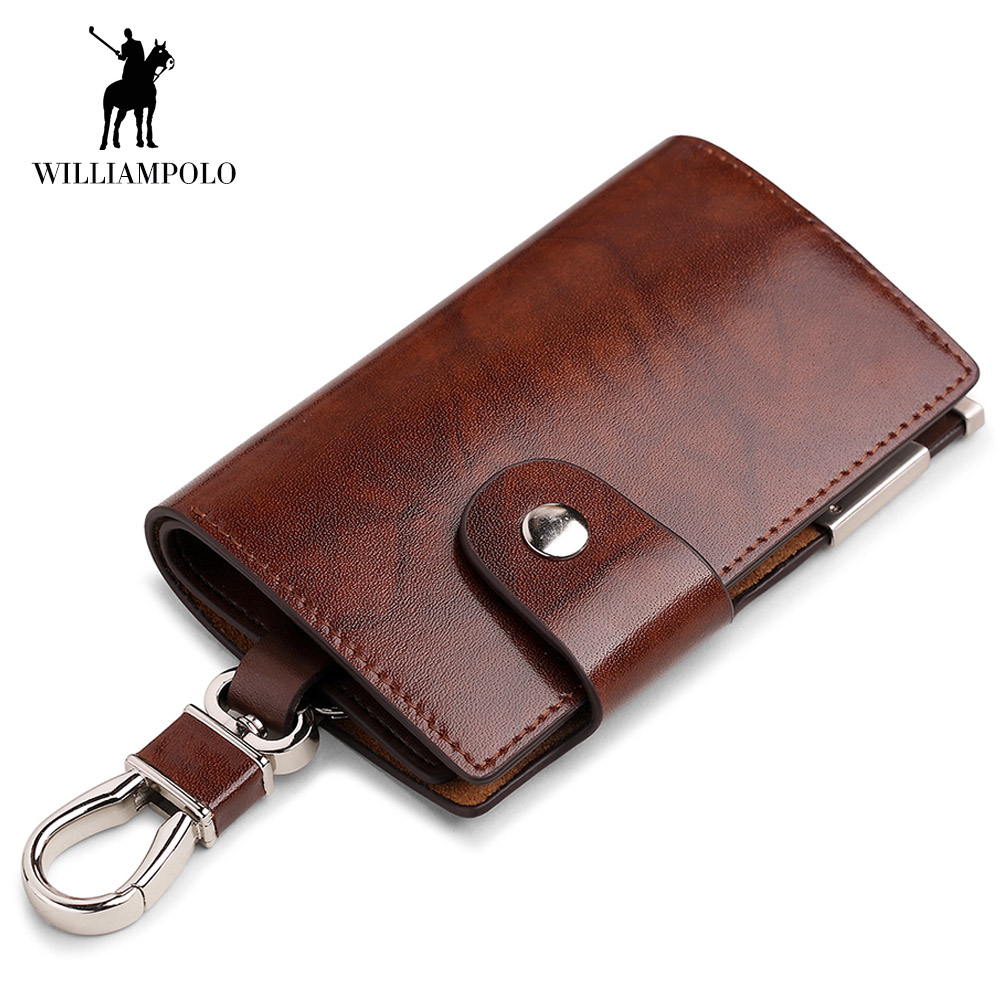 WilliamPOLO Men Key Holder Wallet Small Car Key Organizer Genuine Leather Keychain Bag Cover With Zipper Coin Pocket Mini Purse leather look mini skirt with zipper details