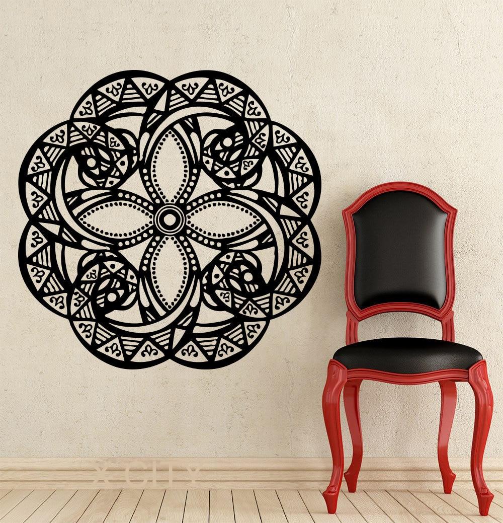 Indian Buddha Yoga Mandala Pattern Oum Om Sign Decal Vinyl Sticker Home Room GYM Office Interior Decor Wall Art Murals
