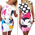 Summer Style Women Dress Cartoon Characters Printed Casual Street Fashion Evening Party Slim Strapless Women Dresses