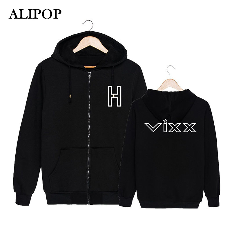 KPOP Korean Fashion VIXX Album LIVE&MEET in Milan Concert Cotton Zipper Hoodies Clothes Zip-up Sweatshirts PT234