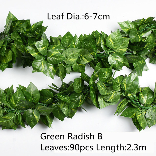 10 Style 1pc Artificial Decoration Vivid Vine Rattan Leaf Vagina Grass Plants Grape Leaves For Home Garden Party Decor B1015 4