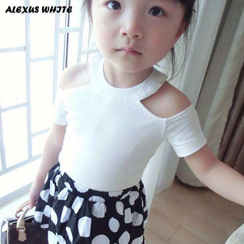 2018 Summer Girls T Shirt Sexy Off Shoulder Cotton T-Shirts Kids Top Tee Girl Children Clothes Toddler Baby 2-7T White Red Black girl