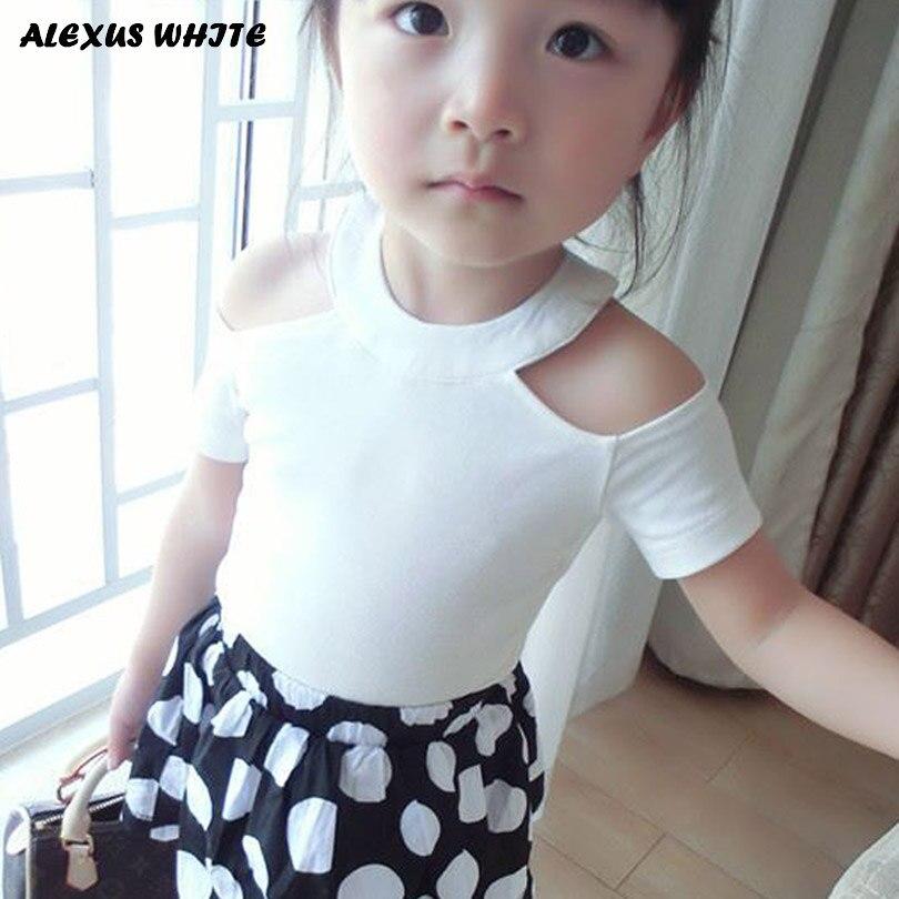 2018 Sommer Mädchen T Shirt Sexy Off Schulter Baumwolle T-shirts Kinder Top T Mädchen Kinder Kleidung Kleinkind Baby 2- 7 T Weiß Rot Schwarz