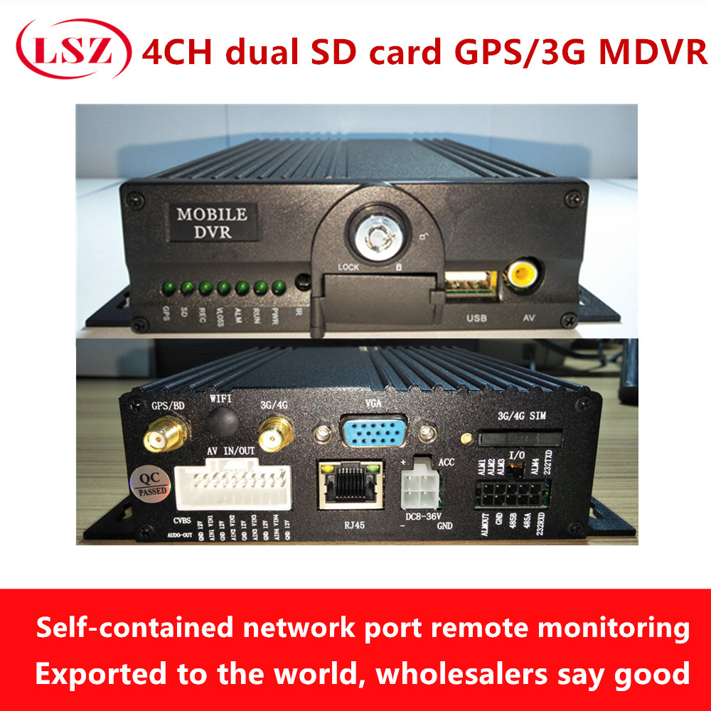 WIFI mdvr video recorder GPS 4CH SD card monitor host air head interface device mobile dvr wholesale truck bus mobile dvr ahd double sd card on board video recorder air head 4ch mdvr vehicle monitor host