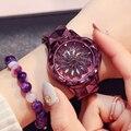 Reloj de mujer con patrón de flor púrpura que gira alrededor de las señoras reloj a prueba de agua estilo de acero correa de reloj de mujer