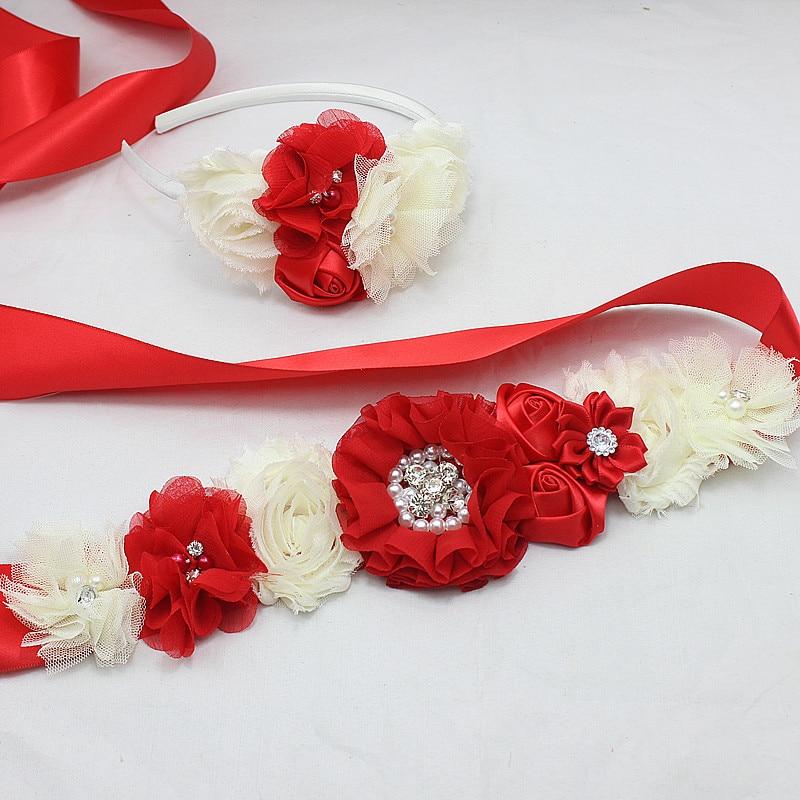RED šifons Ziedu vērtnes jostas līgavas māsa rožu galvas kleita Kāzu tills Puķu josta Kleita kleita kleita meiteņu kleita matu aksesuāri
