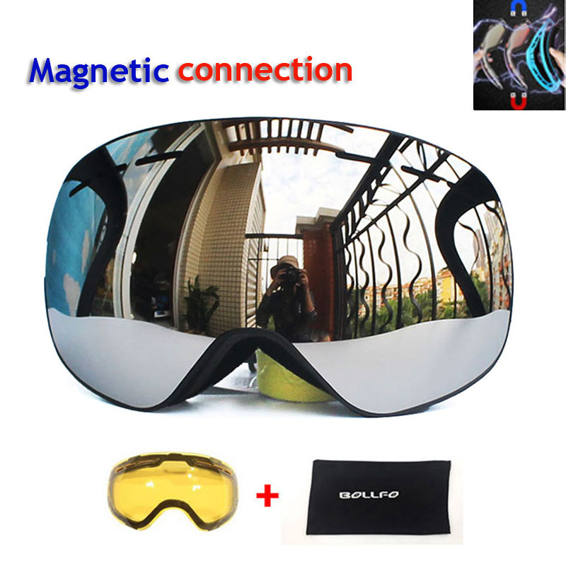 Men Women Ski Goggles with Magnetic Double Layers Lens Skiing Anti-fog UV400 Snowboard Goggles Ski Glasses Eyewear Graced lens vector brand ski goggles men women double lens uv400 anti fog skiing eyewear snow glasses adult skiing snowboard goggles