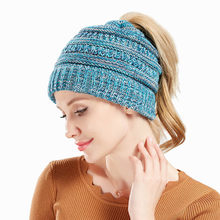3ba033e54d70c Dropshipping Soft Knit Ponytail Beanie Hat Winter Hat For Women Messy Bun  Cap Skullies Beanies Knitted