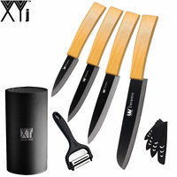XYj Good Grade 3 4 5 Kitchen Knife Black Blade 6 Inch Bread Ceramic Knife With