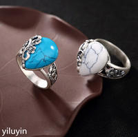 KJJEAXCMY Boutique jewelry S990 pure silver, antique plum blossom mosaic white turquoise, ladies' open silver ring.