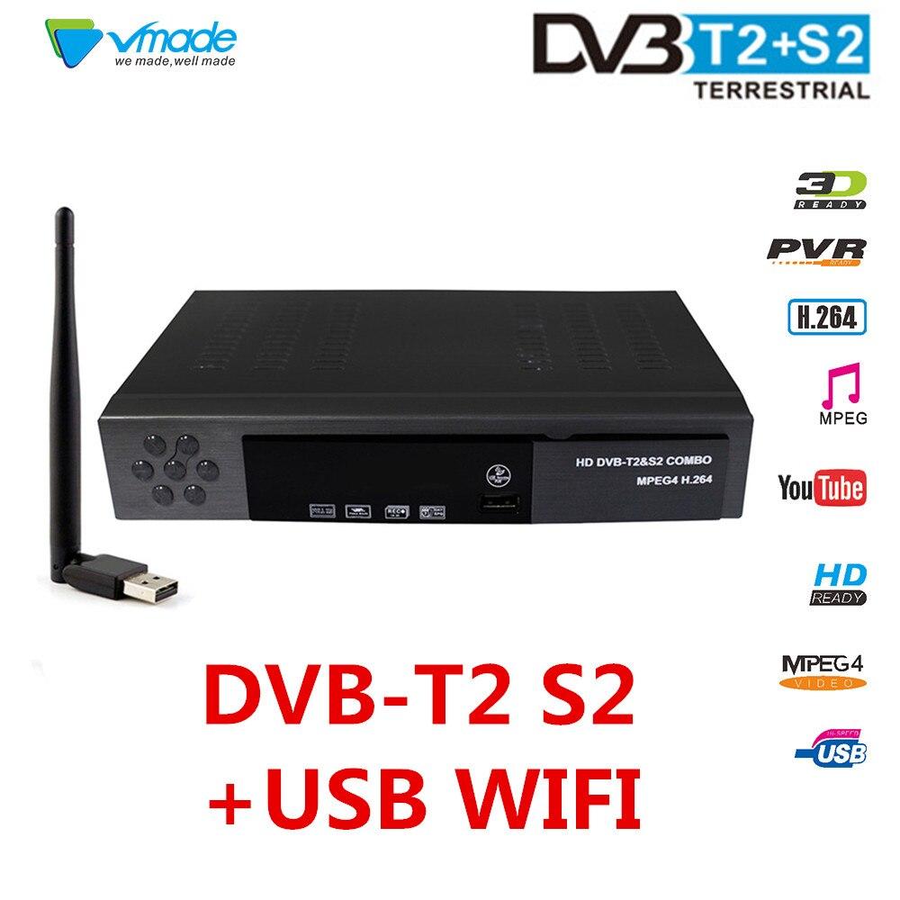Vmade HD Digital Terrestrial Satellite TV Receiver DVB T2 S2 Combo TV Tuner Receivable MPEG-4 DVB-T2 DVB-S2 TV Box Support CCCAM