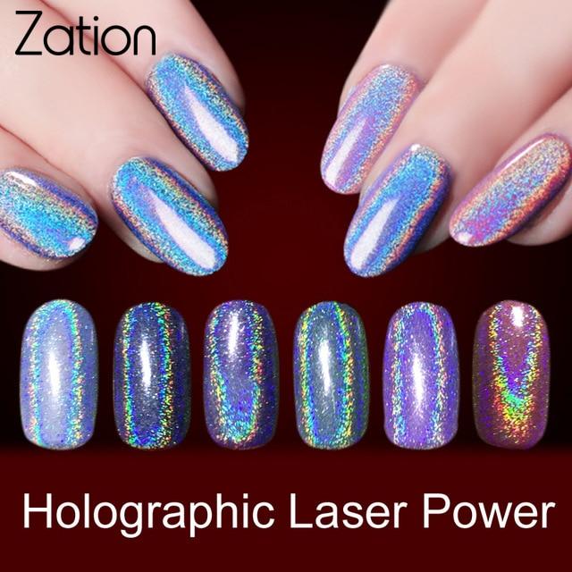 Zation New Sequins Glitters uñas arte manicura UV Gel polaco oro brillo espejo uñas polvo cromo polvo pigmento uñas