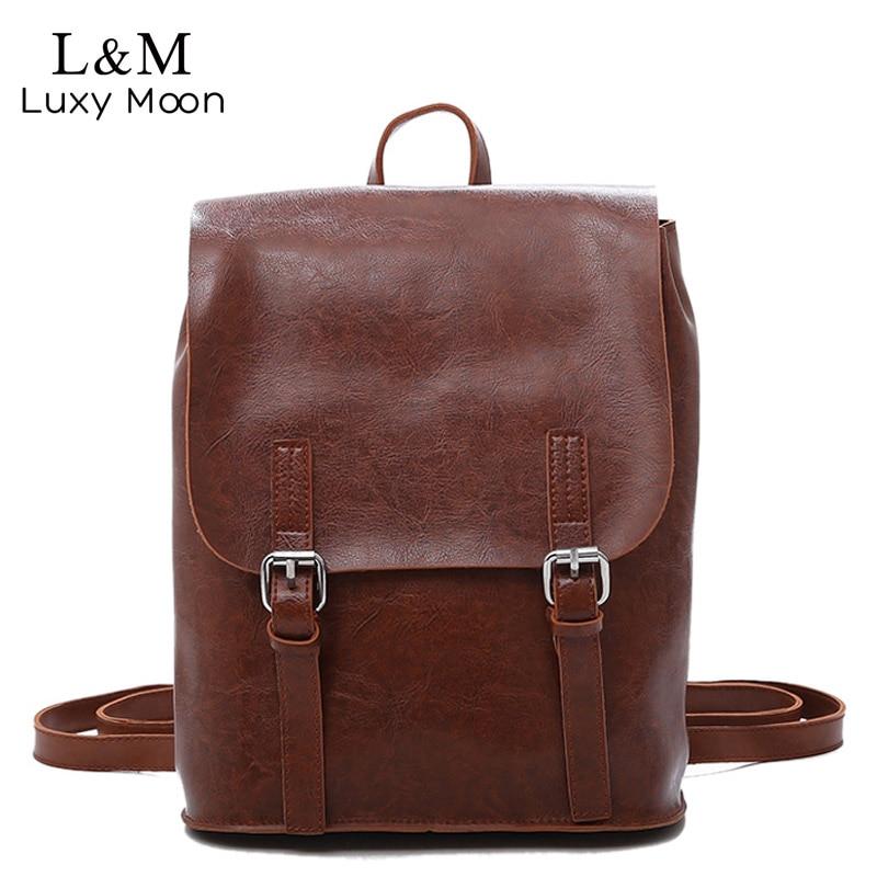 Для женщин рюкзак масло воск кожаные рюкзаки для девочек-подростков школьная сумка многофункциональный большой сумки на плечо коричневый ...