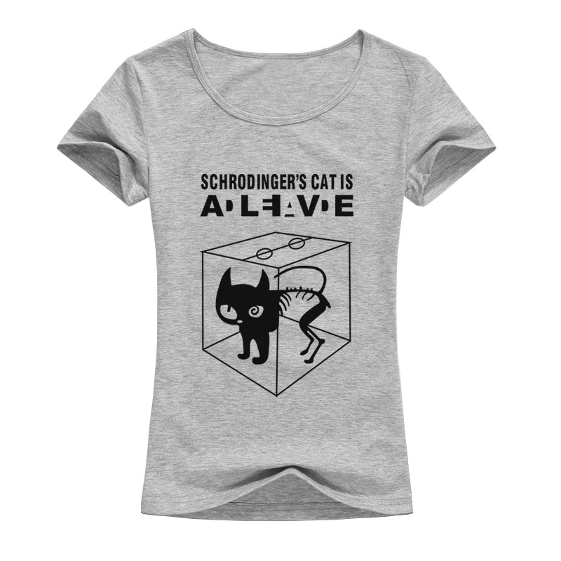 2017 The Big Bang Theory T-shirt Sheldon Cooper Schrodinger 's Cat T shirt Women Cartoon Anime Printed Shirts Female A132