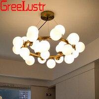 Американская винтажная подвесная люстра, промышленная Золотая черная ветка, Подвесная лампа G4, стеклянный шар, светодиодные люстры для пом