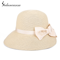 Sedancasesa New Fashion Folding Women Sun Hats Summer Straw Hat for Women Handmade Bowknot Caps Straw Cap Portable Sun Hat