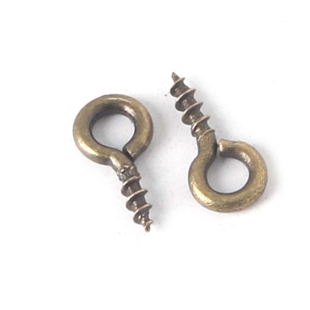 Baru Kedatangan 200 pcs Kecil Kecil Mini Eye Pins Eyepins Hooks Kancing Screw Threaded Perak Jepit Hooks Perhiasan Temuan untuk DIY