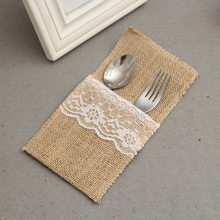 Pouch Cutlery Holder Decoration Favor rustic wedding decor vintage wedding decoration Hessian Burlap Lace Wedding Tableware1pcs(China)