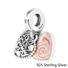 Authentic 925 Sterling Silver Jewelry Love Makes A Family Dangle Charm, Pink Enamel Charms Beads Fits Fandola Bracelets CKK