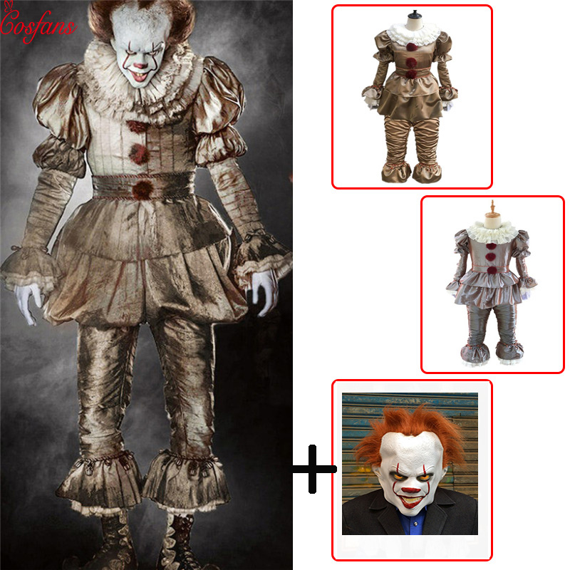 Clown Cosplay Stephen King's It Pennywise Cosplay Costume Adult Men Women Fancy Halloween Horror Costume Batman Men Adult Mask