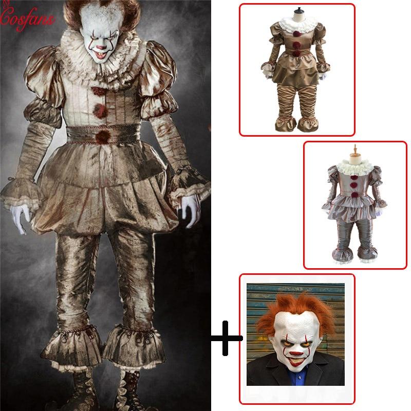 Clown Cosplay Stephen King's It Pennywise Cosplay Costume Adult Men Women Fancy Halloween Horror Costume Batman Men Adult Mask