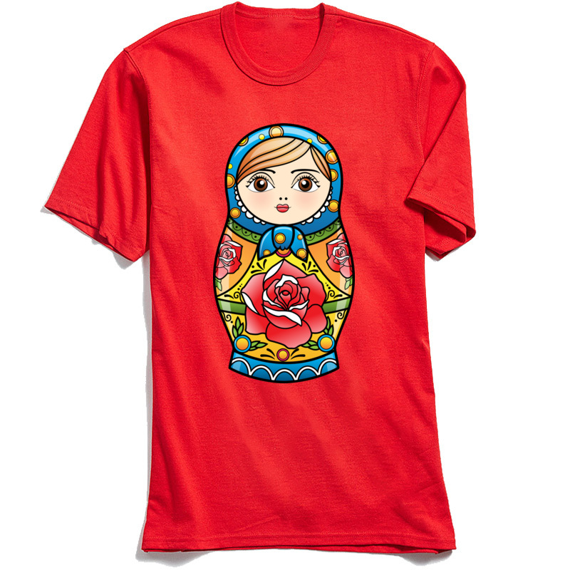 RUSSIAN NESTING DOLL Crew Neck Top T-shirts Summer Fall Leisure Tops T Shirt Short Sleeve New Design Pure Cotton Tshirts Mens RUSSIAN NESTING DOLL red