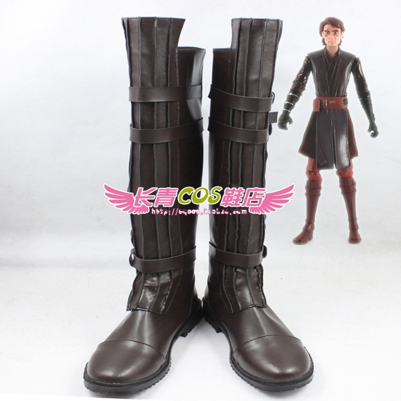 1:1 Star Wars Darth Vader Cosplay shoes Darth Vader Role Play brown Long Boots costumes large size