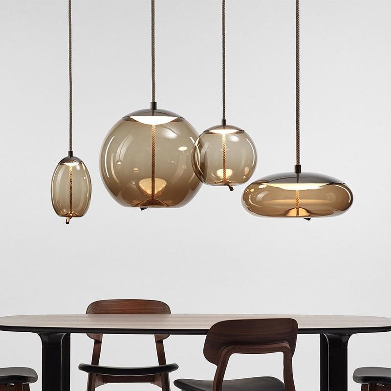 Moderne BROKIS noeud verre pendentif lumières luminaire suspendu corde suspension lampe concepteur café barre luminaires livraison directe