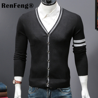New spring summer 2018 Male knit cardigan sweater coat short Male a little shawl knitted jacket Men Striped Black Gray jumpers