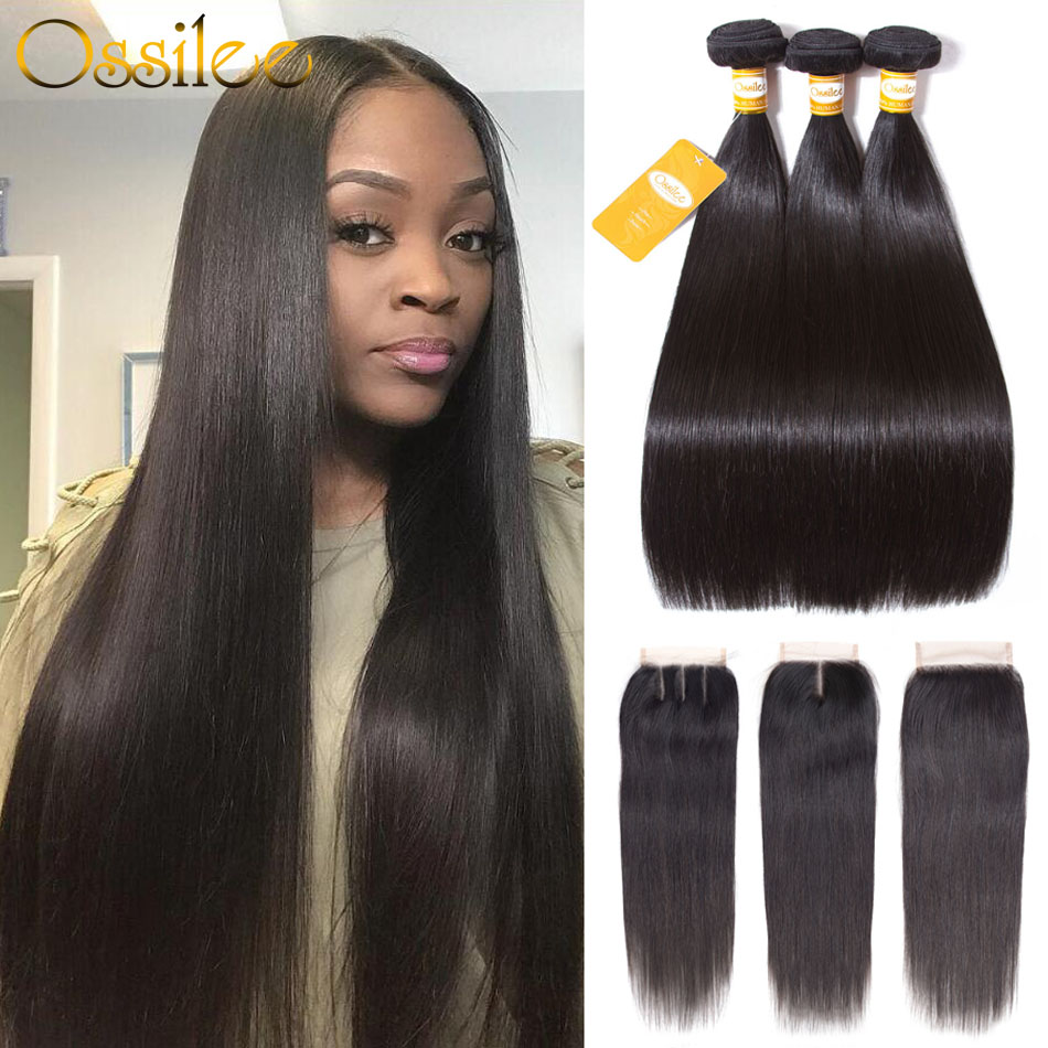 Ossilee Straight Hair Bundles with Closure Human Hair Bundles with Closure Non Remy Peruvian Hair 3 Bundles with Lace Closure