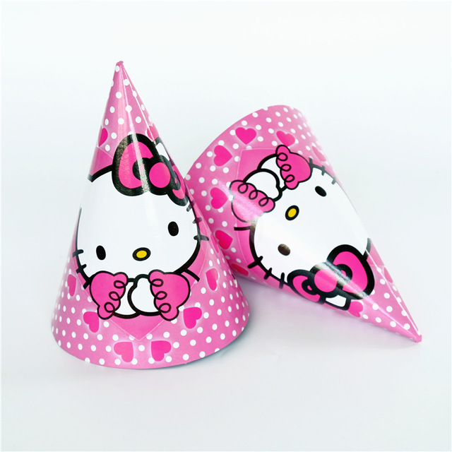 6 pcslot Hello Kitty Theme Party Paper Caps Hats Kids Event