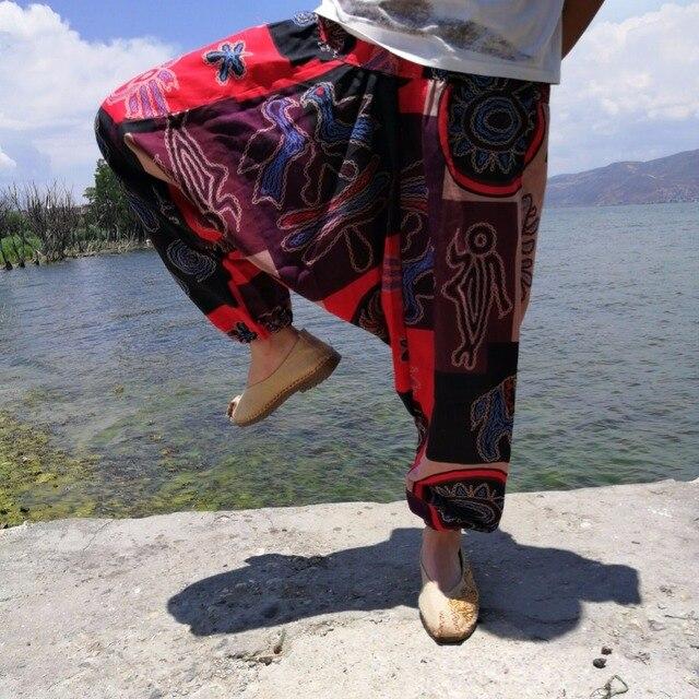 20 Print Thai Hip Hop Aladdin Hmong Baggy Cotton Linen Harem Pant Men Plus Size Wide Leg Trousers Boho Casual Pants Cross-pants 5