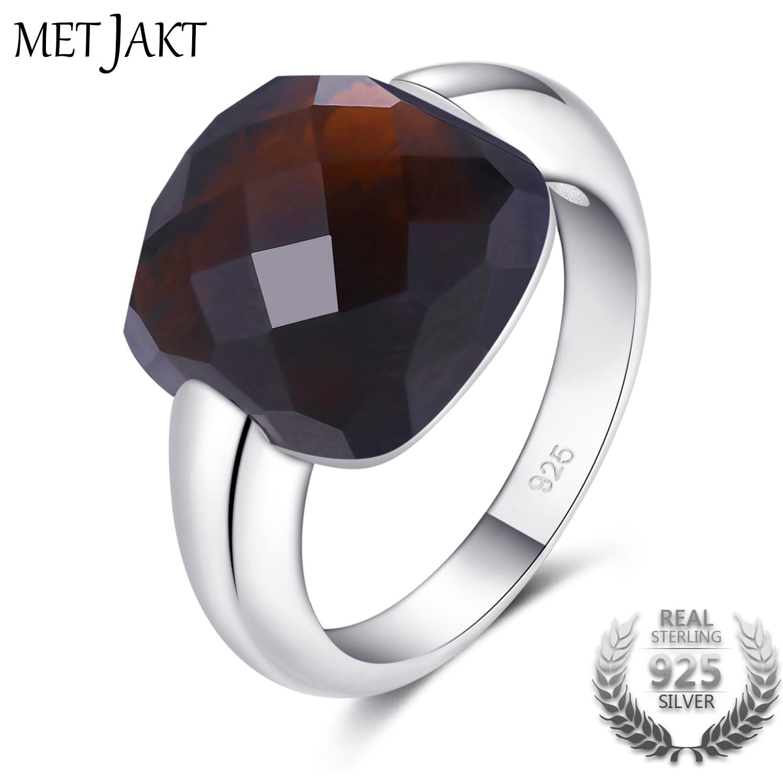 MetJakt authentique pierre naturelle Quartz fumé pierre solide 925 bagues en argent Sterling pour les bijoux fins des femmes
