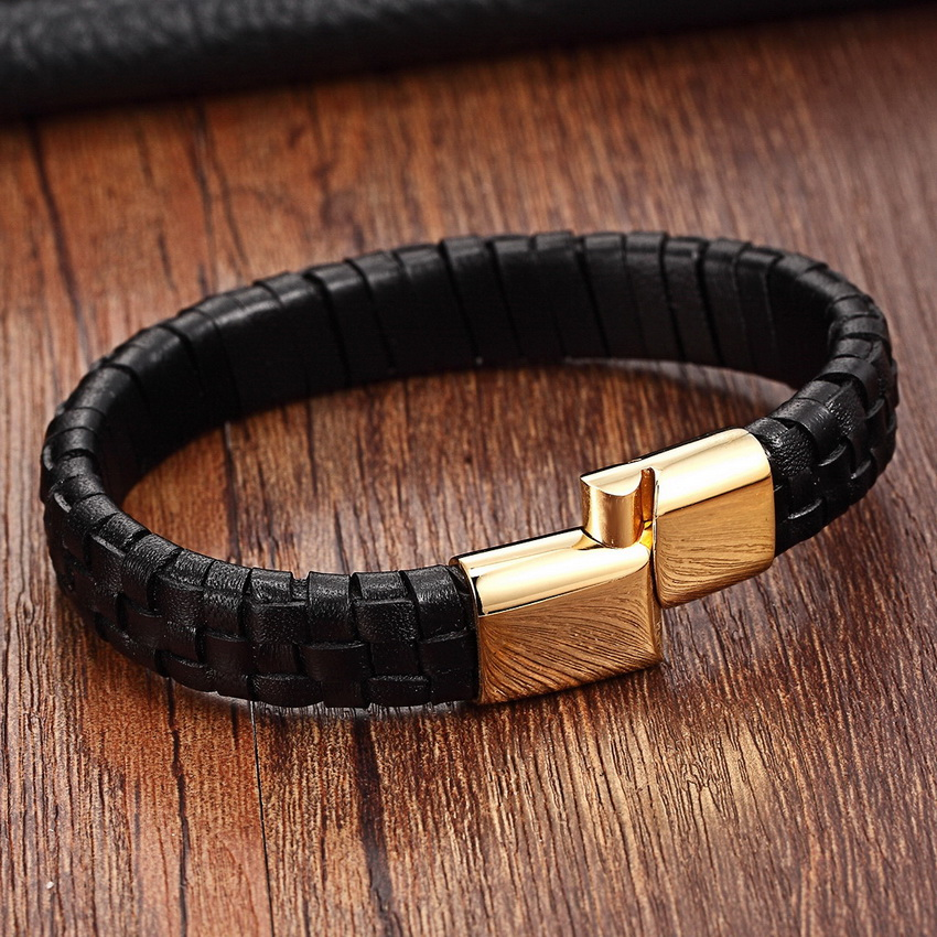 Fashion Stainless Steel Genuine Leather Jewelry Charm Leather Bracelet For Women braided bracelet men Top Quality Dropshipping stylish faux leather layered braided bracelet for men