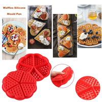 3D Silicone gaufre Moule fabricant Pan micro ondes cuisson Cookie gâteau Muffin ustensiles de cuisson Moule outils de cuisine accessoires fournitures|Gaufre Moules| |  -
