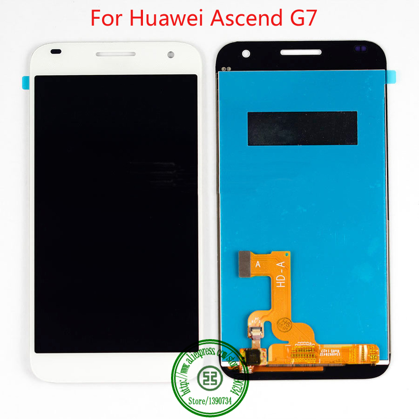White TOP Quality Full LCD Display Touch Panel Screen Digitizer Assembly For Huawei Ascend G7 Phone Replacement Repair Parts  top quality full lcd display touch screen digitizer assembly for huawei ascend w1 u00 c00 w1 replacement white