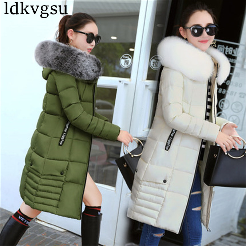 Image 3 - 2019 Women Winter Jackets Down Cotton Hooded Coat Plus Size Parkas Mujer Coats Long Coat Fashion Female Fur collar Coats A1297-in Parkas from Women's Clothing