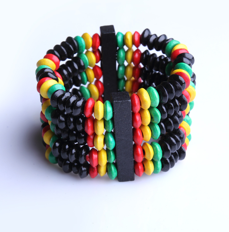 Buy Vintage African Style Colorful Hawaii Wooden Beads Bracelets Bangles