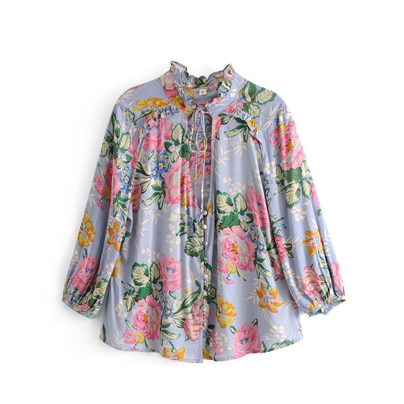 Nsz Women Floral Print Boho Blouse Ruffles Shirt Open Chest Loose Casual Holiday Oversize Summer Top Blusa Camsia Strengthening Waist And Sinews Blouses & Shirts