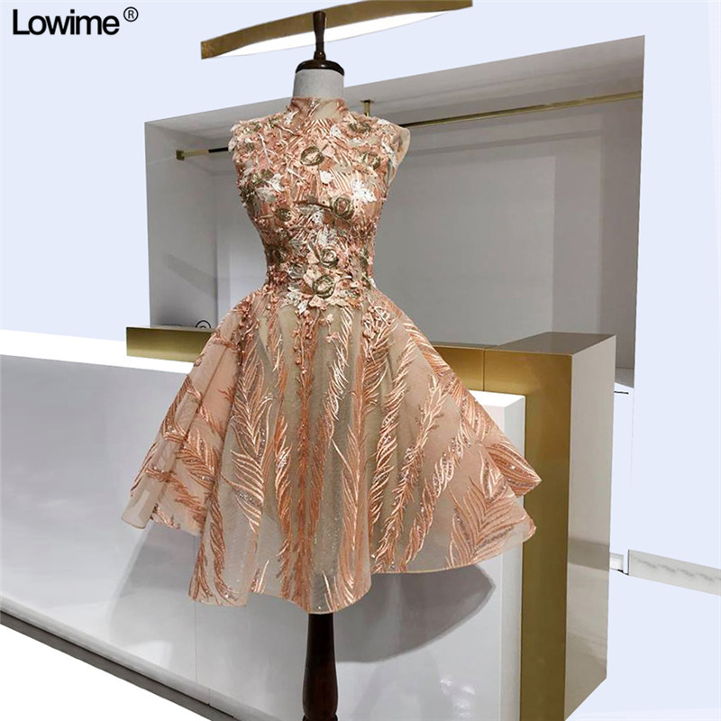 High Quality Customized A-Line High Neck Cocktail Dresses Embroidery Pearls Lace Girl Prom Party Dresses Real Photo