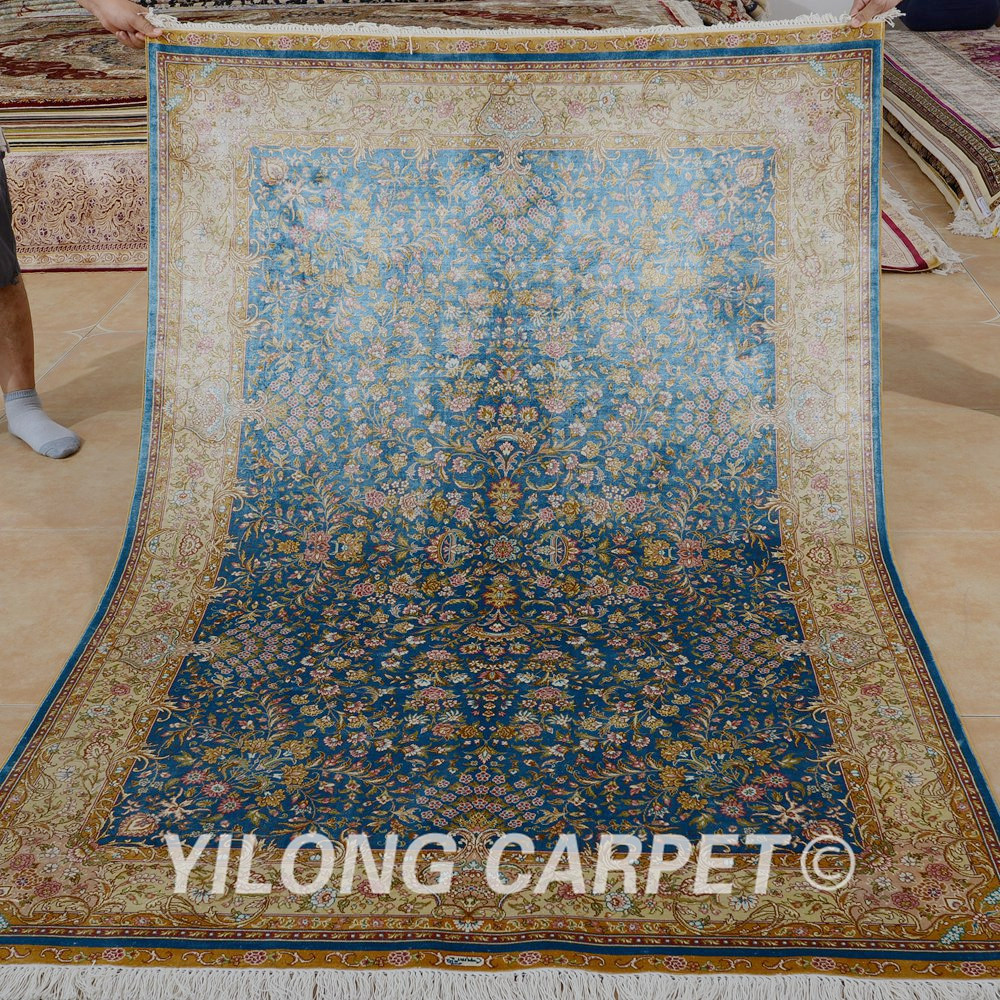 Yilong 45x65 Hereke Silk Carpet Blue Handmade Exquisite